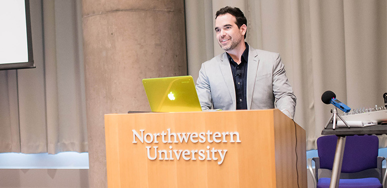 Dario Robleto presents on his research during a previous engagement at Northwestern.